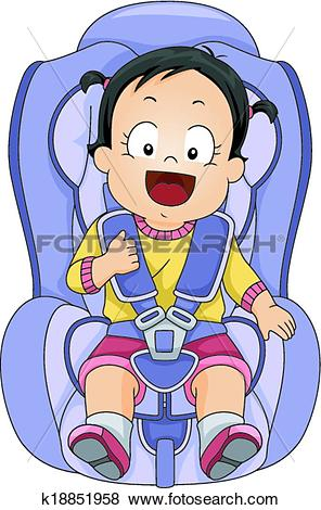 Clip Art - Baby Girl Car Seat. Fotosearch - Search Clipart, Illustration Posters,