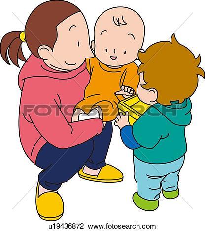 Clip Art - Babysitter, Illustrative Technique. Fotosearch - Search Clipart, Illustration Posters,