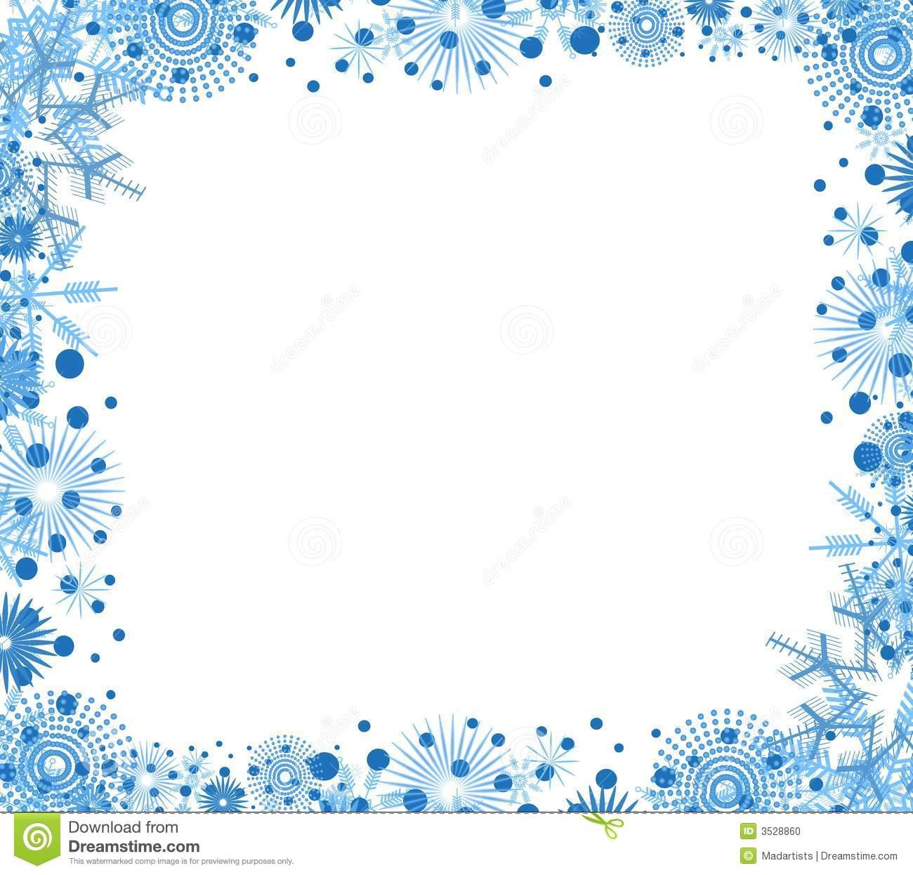 Clip Art Background Border Featuring Dec-Clip Art Background Border Featuring Decorative Blue Snowflakes-0