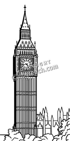 Clip Art: Big Ben Bu0026amp;W - Big Ben Clip Art