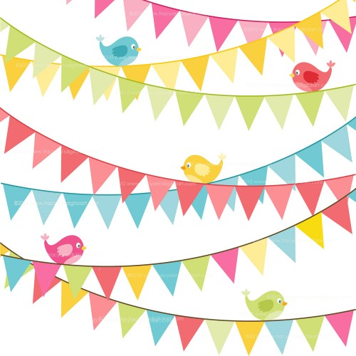 Clip Art - Birthday flag banner Bright colors set 6