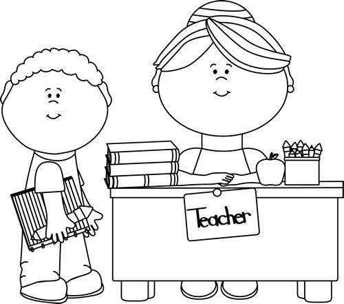 clip art black and white | Black and White Boy Student at Teacheru0026#39;s Desk Clip Art