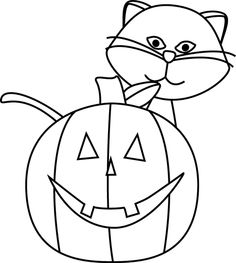 clip art black and white | Black and White Cat and Jack-O-Lantern