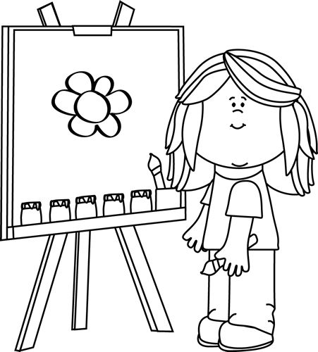 clip art black and white | Black and Whi-clip art black and white | Black and White Girl Painting on Easel Clip Art --7