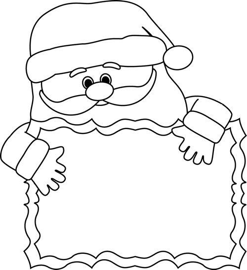 clip art black and white | Black and White Santa Sign Clip Art - black and