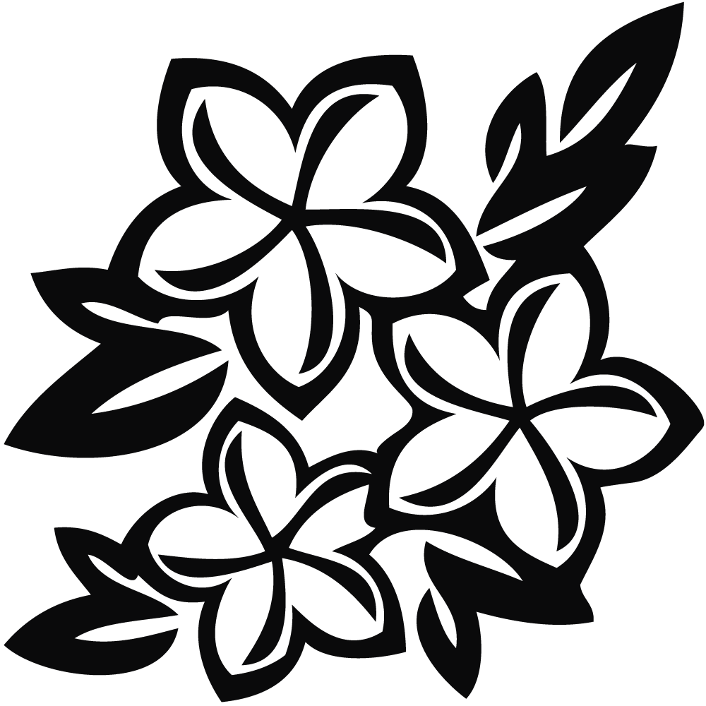 Clip Art Black And White Tiki - Flower Clip Art Black And White