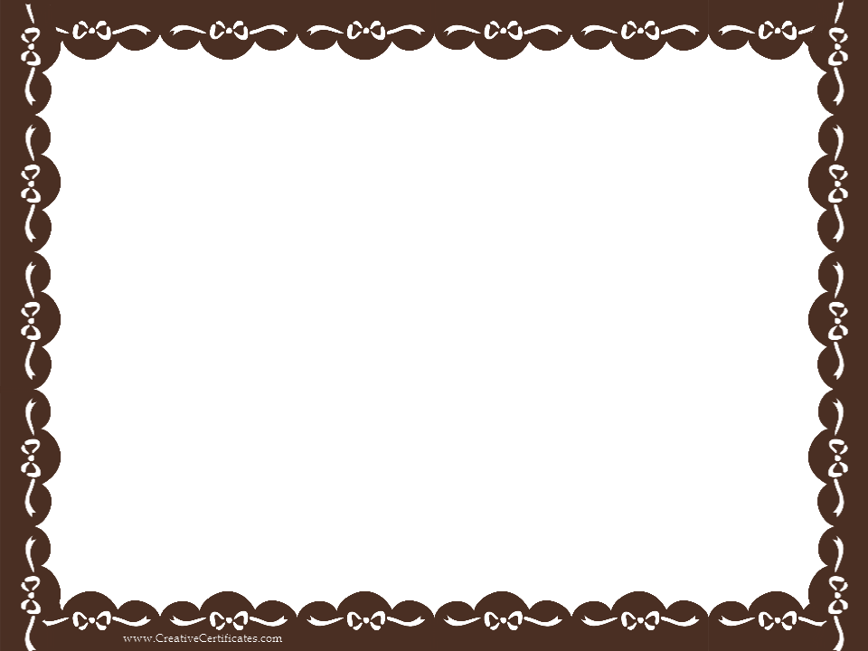 Clip art border - brown certificate border with white ribbons