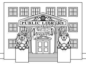 Clip Art: Buildings: Library .-Clip Art: Buildings: Library .-1