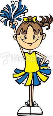 Clip Art Cheerleader Cheerleader Yellow Blue Royalty Free Stock