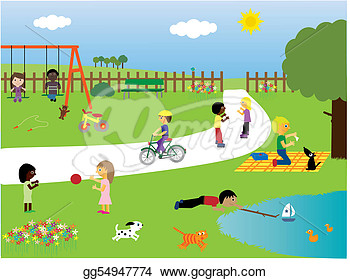 Clip Art Children Playing In The Park St-Clip Art Children Playing In The Park Stock Illustration Gg54947774-5