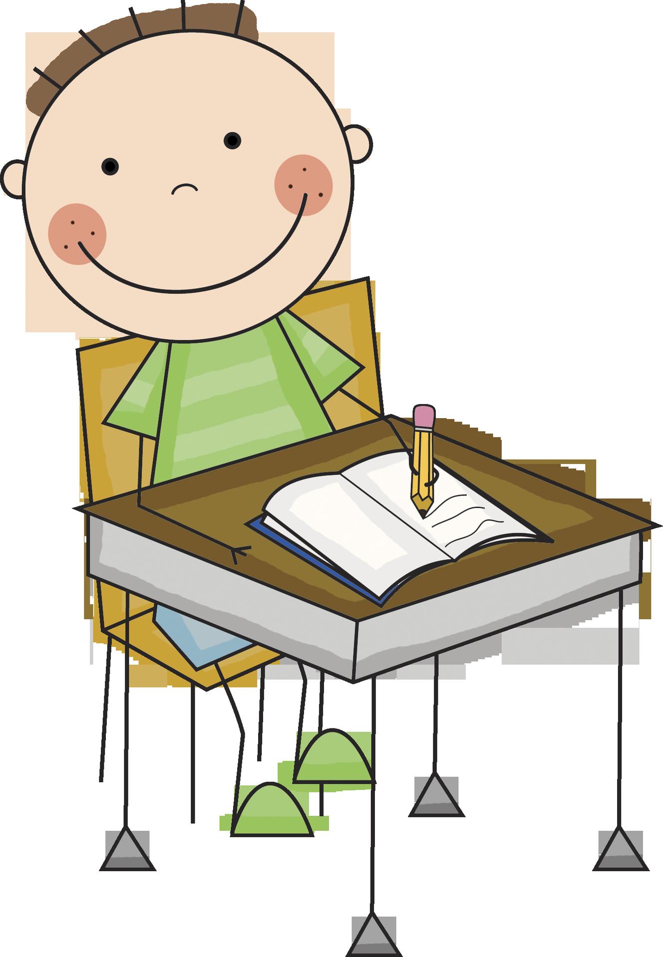 Clip Art Children Writing .