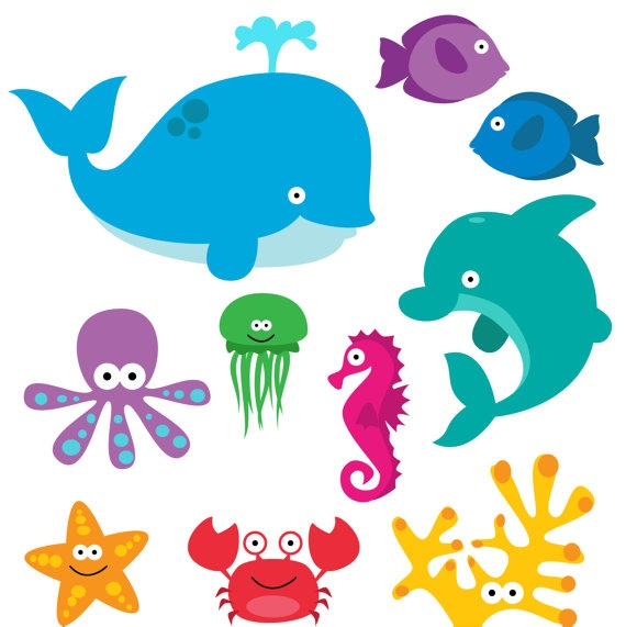 Clip Art Clipart Sea Creatures Clip Art -Clip Art Clipart Sea Creatures Clip Art Clipart Commercial Use-4