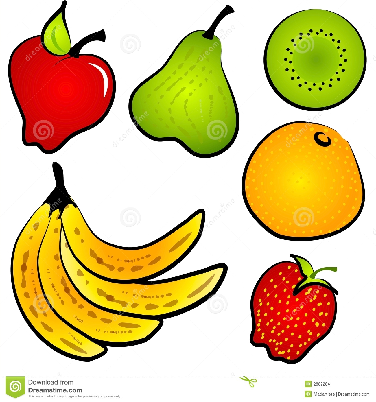 Clip Art Collection Of Healthy Fruits Including Kiwi Apple