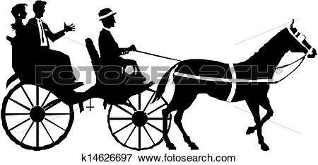 Clip Art - couple on horse and carriage . Fotosearch - Search Clipart, Illustration Posters