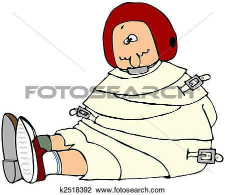 Clip Art - Crazy Person In A Straight Jacket. Fotosearch - Search Clipart, Illustration