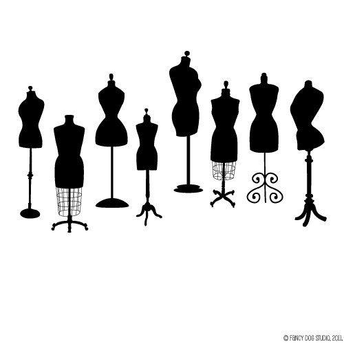 Clip Art Digital Download Graphics - Vintage Victorian Dress Forms. $4.00, via Etsy.