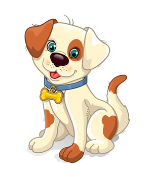 Clip art dog, tan with brown spots, sitting