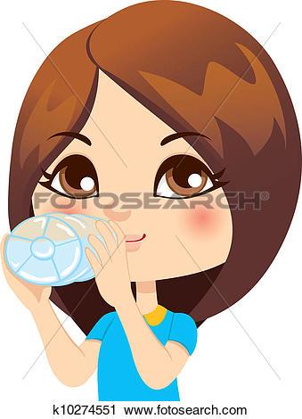 Clip Art. Girl Drinking Water-Clip Art. Girl Drinking Water-13