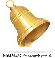 Clip Art. Golden Christmas bell on white-Clip Art. Golden Christmas bell on white background-14