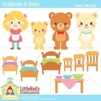 Clip Art - Goldilocks And The Three Bear-Clip Art - Goldilocks and the Three Bears- Fairy Tale Clipart $-3