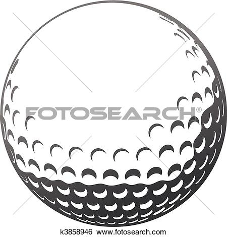 Clip Art - Golf ball. Fotosearch - Search Clipart, Illustration Posters, Drawings,