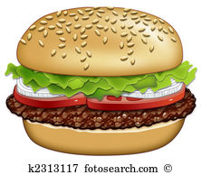 Clip Art. hamburger with the Works-Clip Art. hamburger with the Works-10