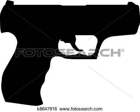 Clip Art. Handgun pistol silhouette isolated on white
