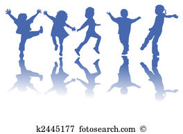 Clip Art. Happy children silhouettes