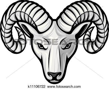 Clip Art. head of the ram (ram head)