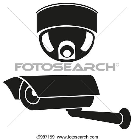 Clip Art - Icons Of Surveillance Cameras-Clip Art - icons of surveillance cameras. Fotosearch - Search Clipart, Illustration Posters,-3