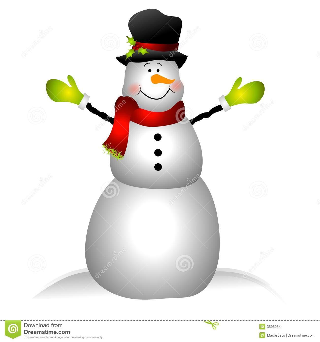 Clip Art Illustration Featuring A Snowma-Clip Art Illustration Featuring A Snowman Dressed In Hat Scarf-1