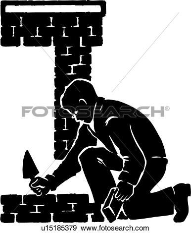 Clip Art - illustration, lineart, bricklayer, brick, layer, mason, masonry