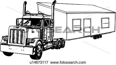 Clip Art - Illustration, Lineart, Truck,-Clip Art - illustration, lineart, truck, mobile, home. Fotosearch - Search-1