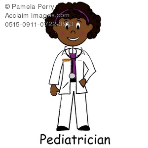 Clip Art Illustration of a African Ameri-Clip Art Illustration of a African American Lady Doctor, a Pediatrician-13