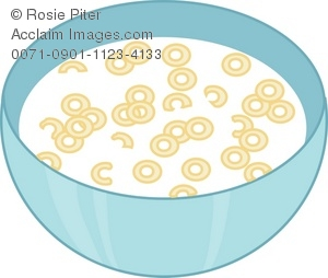 Clip Art Illustration of a Bowl of Cereal