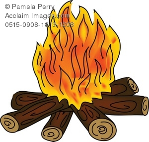 Clip Art Illustration of a Campfire With-Clip Art Illustration of a Campfire With Orange Flames - Acclaim .-16