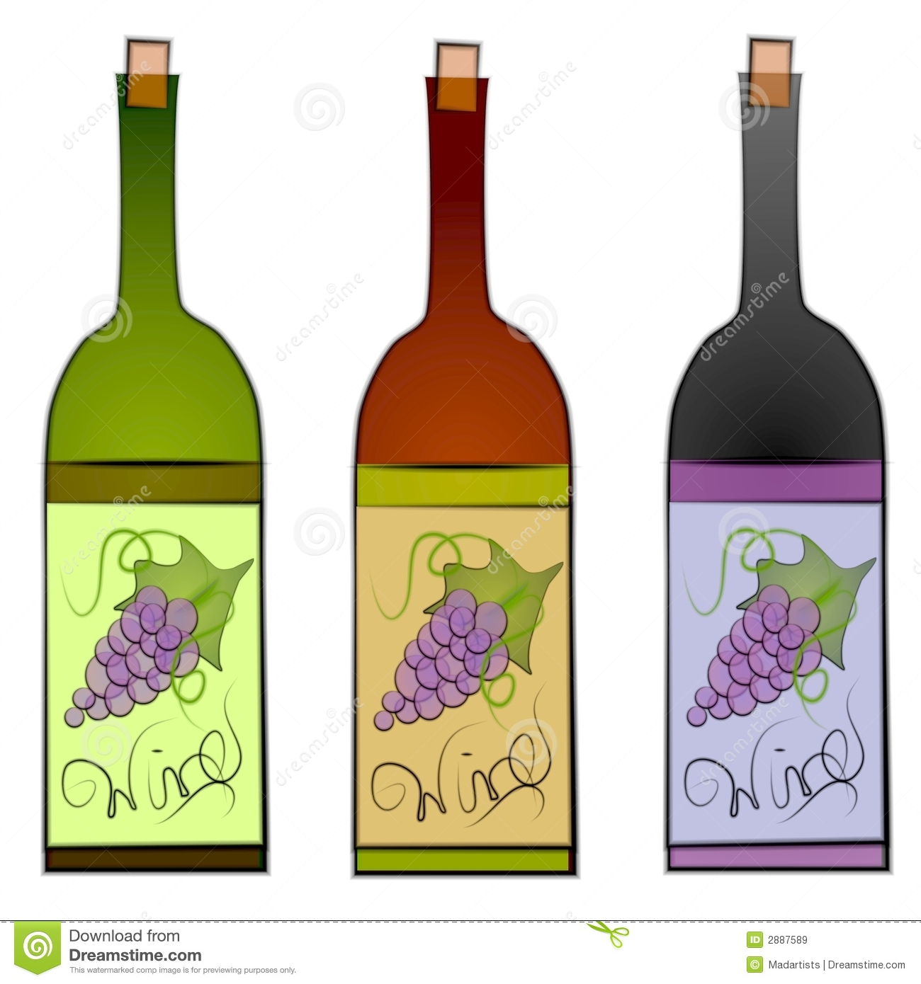 Clip Art Illustration Of A Collection Of-Clip Art Illustration Of A Collection Of 3 Wine Bottles In Green Red-6