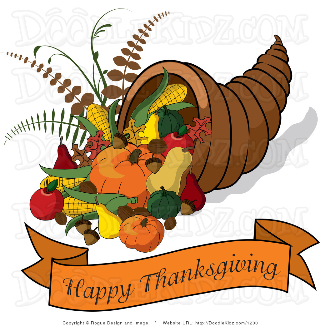 Clip Art Illustration Of A Cornucopia With A Happy Thanksgiving Banner