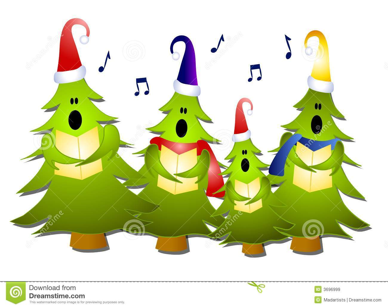 Clip Art Illustration Of A Group Of Christmas Tree Carolers Singing