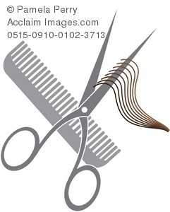 Clip Art Illustration of a Hair Cutting Icon-Scissors, Comb and a Lock of