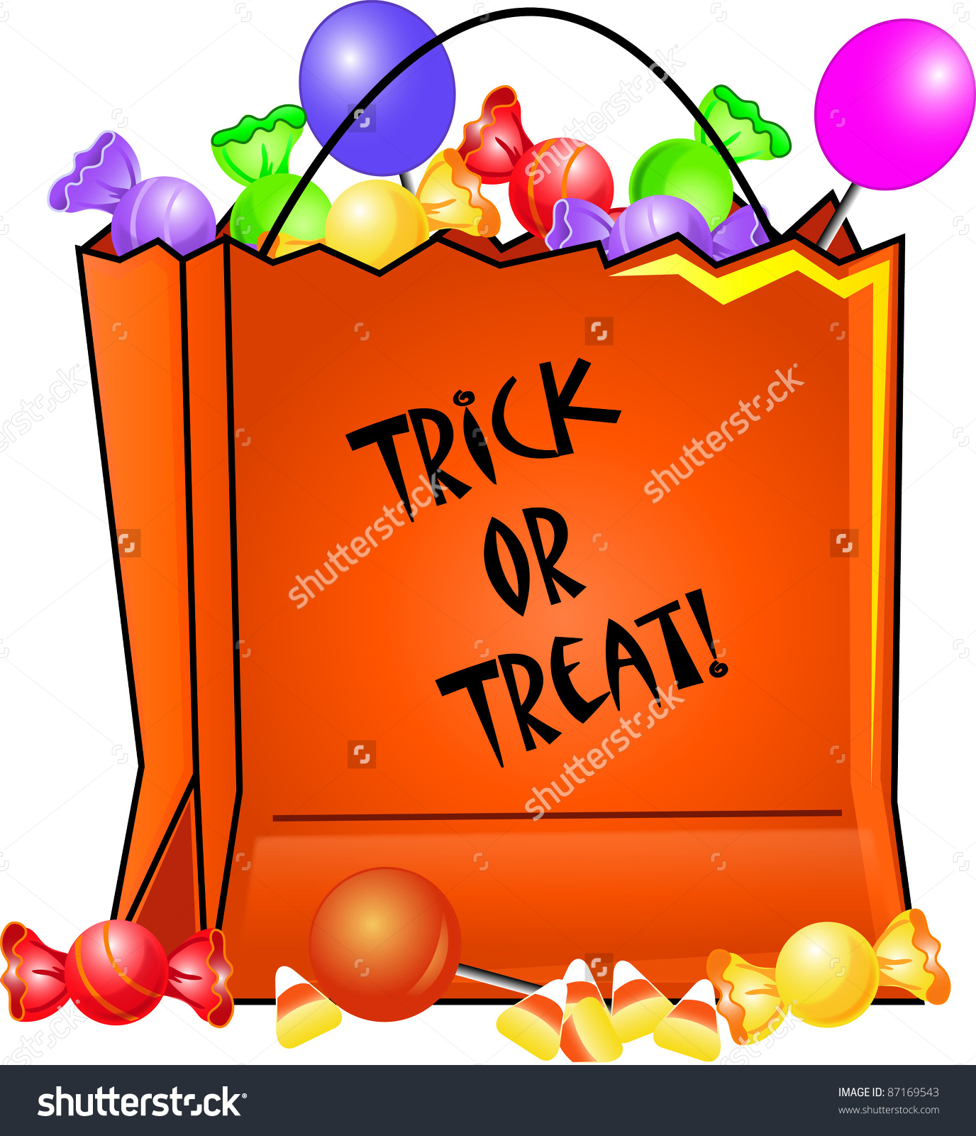 Clip art illustration of a Halloween trick or treat bag filled with candies.