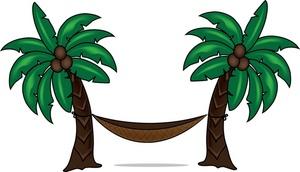 Clip Art Illustration Of A Hammock Betwe-Clip Art Illustration Of A Hammock Between Two Palm Trees Clipart-2