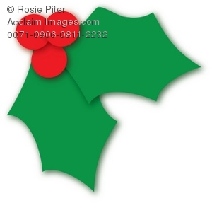 Clip Art Illustration of a Holly Leaf and Berries