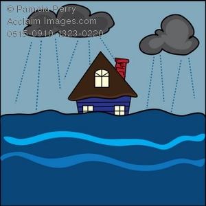 Clip Art Illustration Of A House In A Fl-Clip Art Illustration of a House in a Flood-2