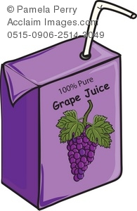 Clip Art Illustration of a Juice Box-Grape Juice