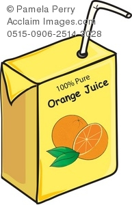 Clip Art Illustration of a Juice Box-Orange Juice