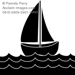 Clip Art Illustration Of A Sailboat Silh-Clip Art Illustration of a Sailboat Silhouette-0
