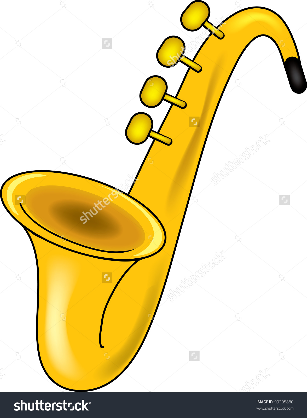 Clip Art Illustration of a saxophone.