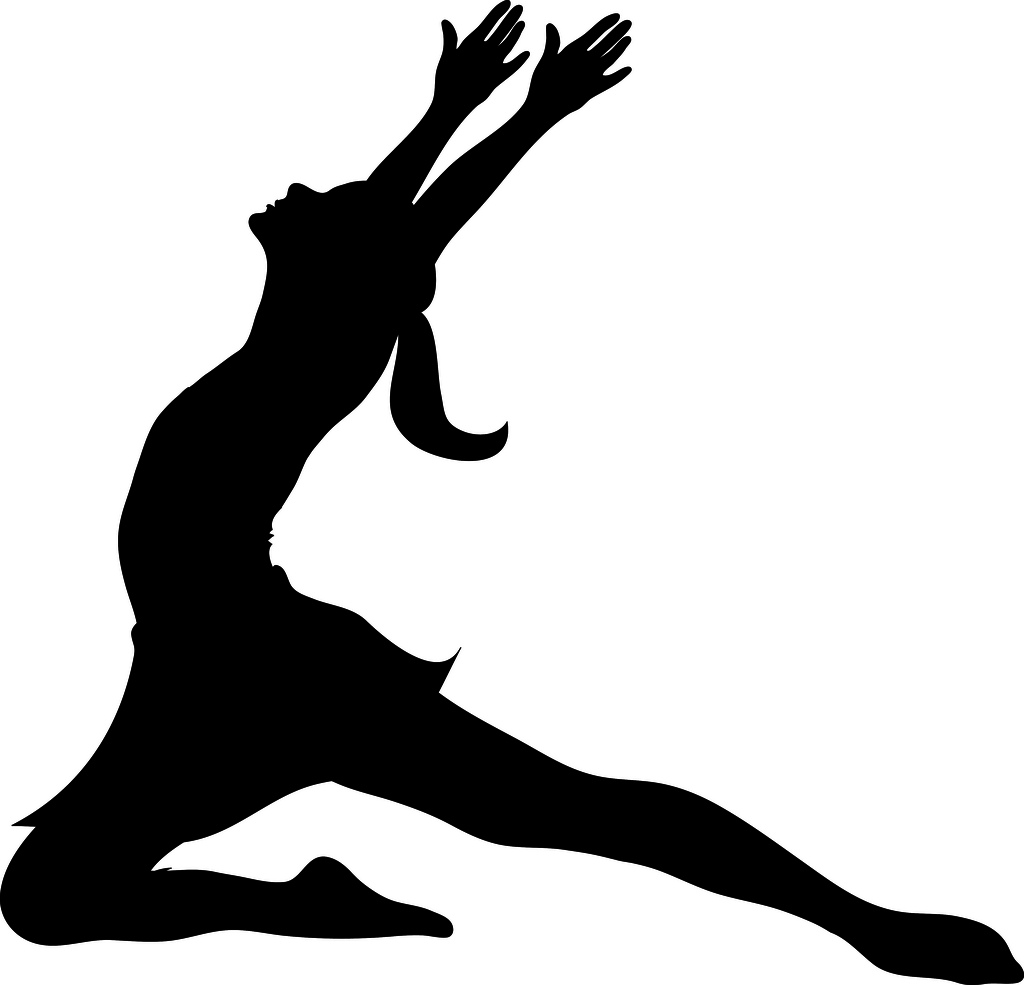 Clip Art Illustration Of A Silhouette Of A Ballet Dancer Lunging A