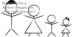 Clip Art Illustration Of A Stick Figure -Clip Art Illustration of a Stick Figure Family Drawn in Charcoal Pencil-2